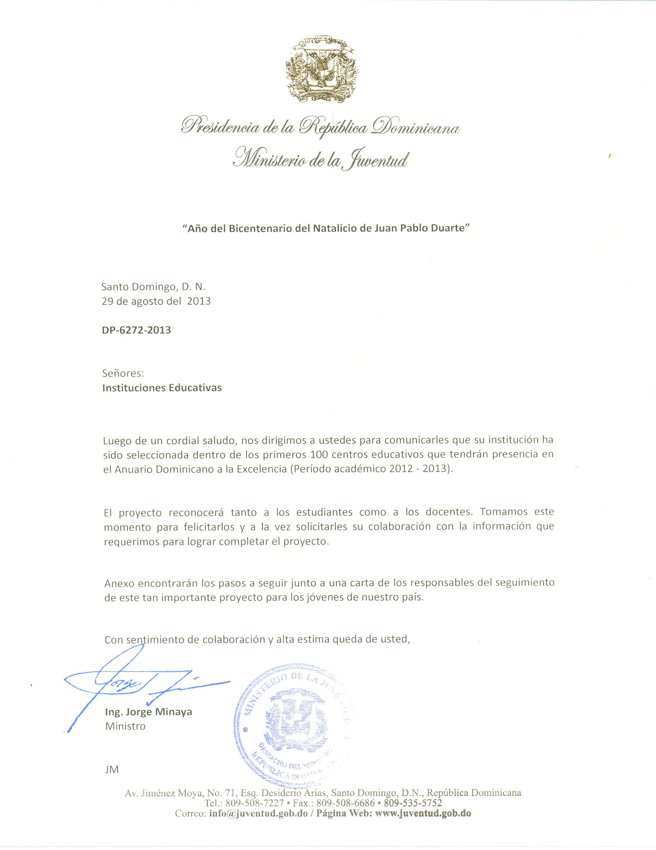 Carta ministerio educacion 001 the teaching experiment for Ministerio educacion exterior